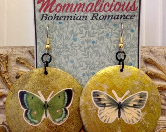 Unusual dangle earrings collage on wood with gold and white & green butterfly