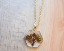 Gold Hexagon Flower Necklace // Lead and Nickel Free, Silver Plated Chain // Handmade Nature Jewelry