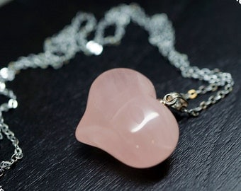 Sterling Silver Rose Quartz Heart Necklace - Rose Quartz Necklace - Puff Rose Quartz Heart Pendant - Yoga Necklace