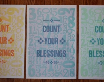 Count Your Blessings Letterpress Poster