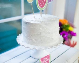 Printable Fruit Cake Toppers - Tutti Frutti Birthday