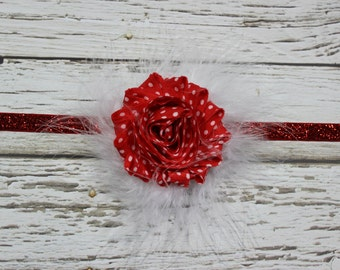 Red w/White Polka Dot Shabby Chic Flower and White Feather Puff Headband on Red Glitter Skinny Elastic