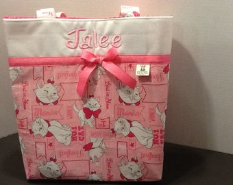 Personalized medium size ribbon tote bag made with Aristocats  fabric
