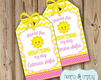 You Are My Sunshine Party Favor Tags  / Sunshine Birthday Favor Tags / Sunshine Baby Shower - PERSONALIZED Party Favor Tags FILE to PRINT