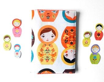 Matryoshka Fabric Passport Cover, Family Passport Wallet, Kids Travel Accessories, Russian Doll Fabric Travel Cover, Travel Passport Sleeve
