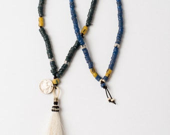 Trade Bead Necklace with White Tassel