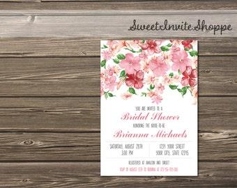 Pink Blossom Bridal Shower Invitation, Floral Wedding Shower Invitation, Watercolor Pink Blush Bridal Shower Invite, Baby Shower Invitation