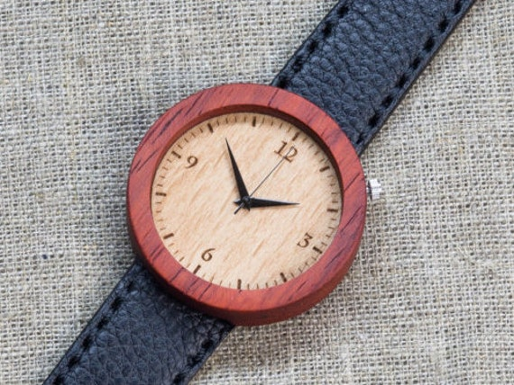 African Padauk minimal wood watch , Majestic Watch,  Black Genuine Leather strap + Any Engraving / Gift Box. Anniversary  gift