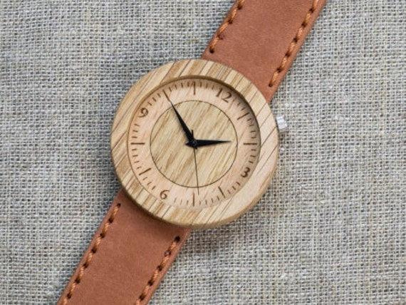 Far Eastern Oak DESIGNER wood watch, Best minimal Watch,  Terracotta Genuine Leather strap + Any Engraving / Gift Box. Anniversary  gift