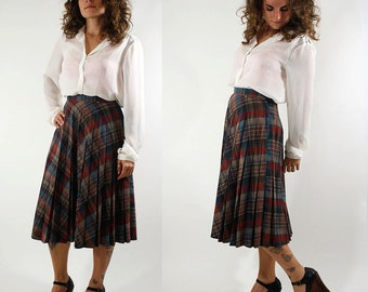 Vintage Pleated Plaid Wool Skirt Midi Skirt Knee Length Size Medium