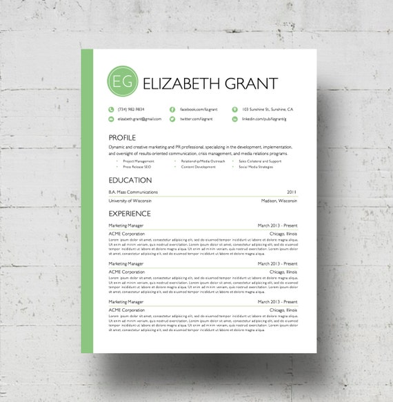 Resume Template Cover Letter Template The Sara By Phdpress: Custom Framer Resume