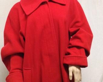 Free Ship Large Red Wool Coat