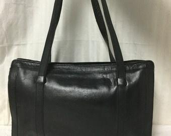 Free Ship Black Leather Tote Shoulder Bag Purse