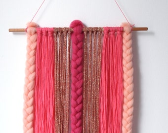 Yarn and braids wall hanging