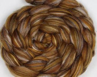 Merino Silk Wool Roving / Combed Top / Wool Braid in Lynx - 4 ounces