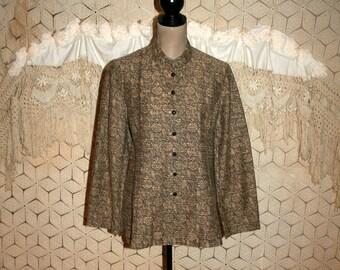 Womens Vintage Jacket 80s Clothing Tapestry Jacket Large Bohemian Mandarin Collar Nehru India Ethnic J Jill Size 12 Jacket Vintage Clothing
