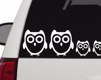 Family Car Decal - Owl Family Car Decal - Owl Family Decal - Stick Figure Family
