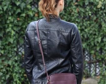 NINA - Leather CrossBody Bag - Burgundy