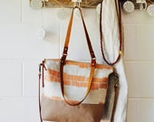 Canvas Crossbody Tote Bag - Weekender Tote - Carry All - Copper Linear Print - Shoulder bag - Hand Made in Australia