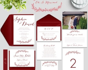 Maroon Wedding Invitations, Maroon and White Minimalist Wedding Invitation Suite, Floral Wedding Invites, SKU: WFK