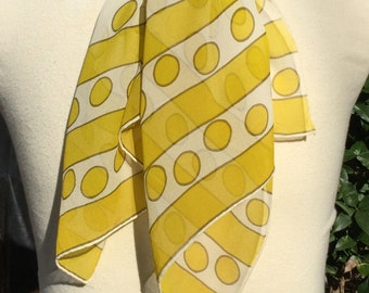 Vintage Silk Scarf  Yellow Polka Dot ECHO Long Sheer Ladies Accessory