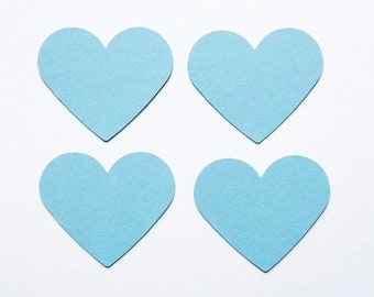 "50 light blue die cut Heart Tags. 2"" tag hearts - Party decor - Wedding tags - Wedding favors - Hang gift tags - Baby blue tags"