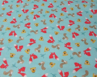 Flannel Fabric - Woodland Friends Tossed Teal - 1 yard - 100% Cotton Flannel