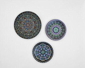 Set of wall plates - Hand painted plates - Mandala - Plate sets - Decorative plates - Wall hangings - Luxury gifts - Mandala art
