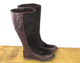 Vintage Boho Fleece Lined Tall Leather Fur Winter Boots - Zip Up Italian Leather Hippie Boots - EU 38.5 / US 8 / UK 5.5