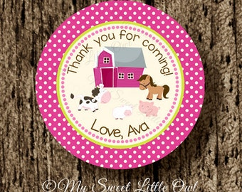 Barnyard label - girl farm sticker - farm birthday - barnyard baby shower - barnyard thank tag - farm animals printable - barnyard animal