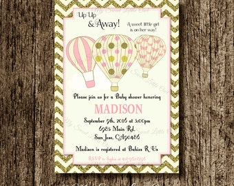 Hot air balloon invitation - balloon printable - balloon invite - balloon birthday - hot air balloon baby shower - gold pink hot air balloon