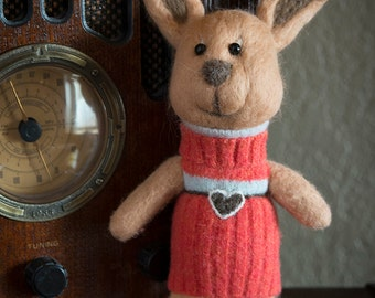 Needle felted stuffed animal bunny rabbit - Fiber Art Sculpture