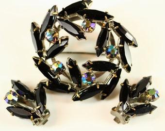 AB Black Rhinestone Demi Parure - Aurora Borealis Rhinestone Brooch Earrings Set, Vintage Estate Jewelry, Large Rhinestone Christmas Brooch