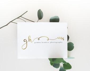 premade logo design · gold leaf · initial logo · gold swash logo · photography business · metallic logo · premade branding · watermark