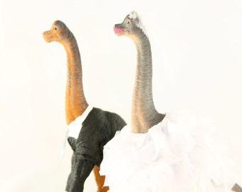 Brachiosaurus Bride & Groom Wedding Cake Toppers
