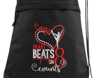 Embroidered Cheer Drawstring Bag/ Embroidered Cheer Bag/ My Heart Beats In 8 Counts Cheerleader/ Cheer Cinch Drawstring Bag/ Embroidered Bag