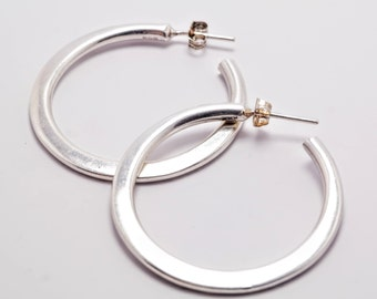 Sterling Silver Heavy Half-hoop  Earrings