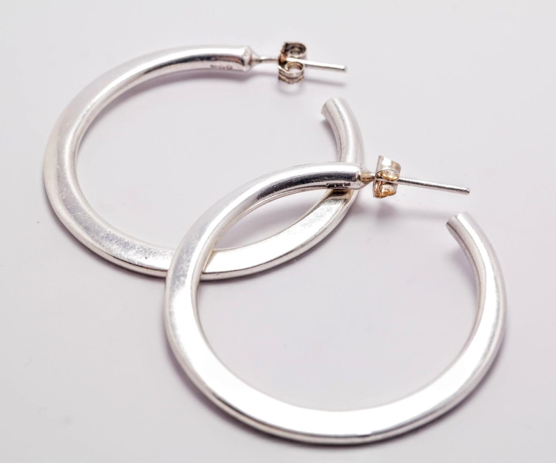 sterling silver heavy half hoop earrings
