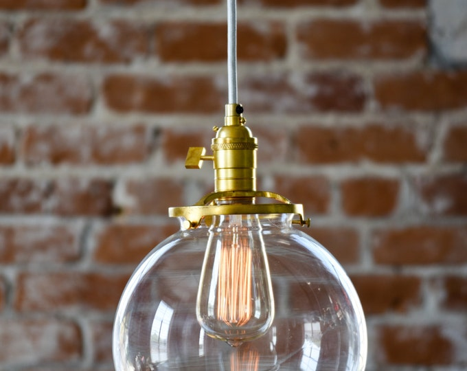 "Free Shipping! Pendant Lighting Gold Brass - 8"" Clear Glass Globe - Cloth Wire - Ceiling Canopy Mount -  Bar Island Kitchen"