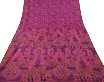 Indian Vintage Traditional Clothing Home Decor Saree Pure Silk Upcycled Printed Fabric Women Wrap Decor Floral Magenta Used Sari PS42692