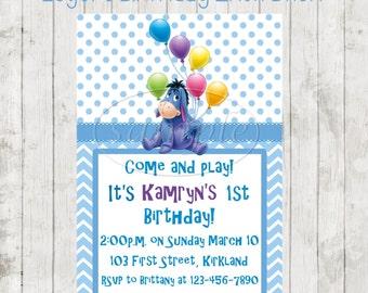 Eeyore Birthday Party Invitations - Eeyore Party - Eeyore Birthday-Eeyore Invitations-Winnie The Pooh Invitations-Kids Birthday Invitations