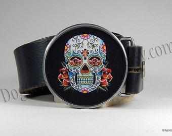 Sugar Skull Belt Buckle Dia de los Muertos Day of the Dead Choice of Buckle Finish Mens Belts Womens Belts