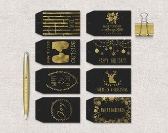 Christmas Tags Printable, Holiday Gift Tags, Printable Christmas Favor Tags, Christmas Labels, Gold & Black Christmas Tags Printable