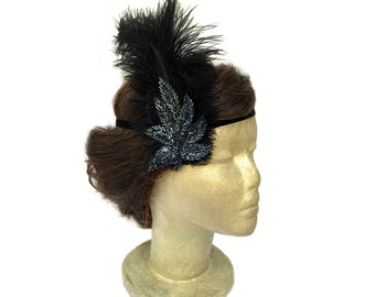 Black Flapper Feather Headband Dark Blue Beading and Black Ostrich Feathers Roaring 20s Dress 1920's Costume Black Feather Fascinator Leaf