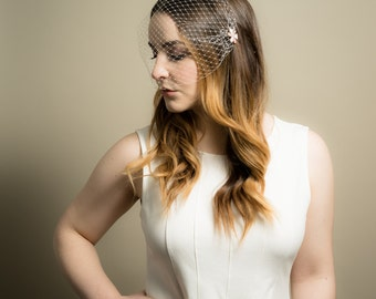 Birdcage Wedding Veil with Rose Gold and White Enamel Crystal Floral Pin ( Russian Netting Veil, Small Veil, Bird Cage Veil, Mini Veil)