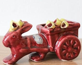 Rabbit and Barrow Australian Pottery Planter by Amanda Handmade 1960s Sydney
