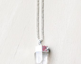 Silver Crystal Quartz Pendant Necklace