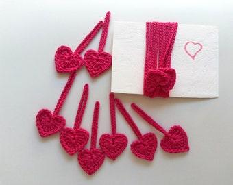Garland of 15 crochet hearts in deep pink crochet bunting heart banner crochet garland Valentine decoration crochet ornaments pending hearts