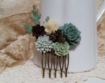 MOSSY WOODLAND BRIDAL Hair Comb Collage Assemblage Grey Greens Brown Pine Cones Oak Leaves Verdigris Vintage Style Fall Wedding Bridesmaids