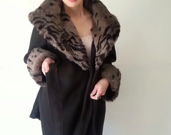Faux Fur Jacket, Womens Coat, Womens Clothing, Black Animal Print Fur Coat, Wrap Coat, Fleece Jacket, Faux Fur Jacket, Hollywood Regency